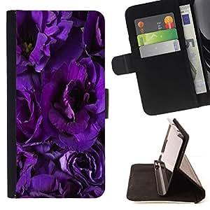 Momo Phone Case / Flip Funda de Cuero Case Cover - Flores de la flor púrpura Pétalos Jardín - Samsung Galaxy Note 5 5th N9200
