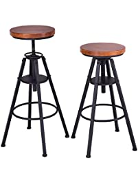 costway bar stools set of 2 height adjustable metal frame pub vintage industrial