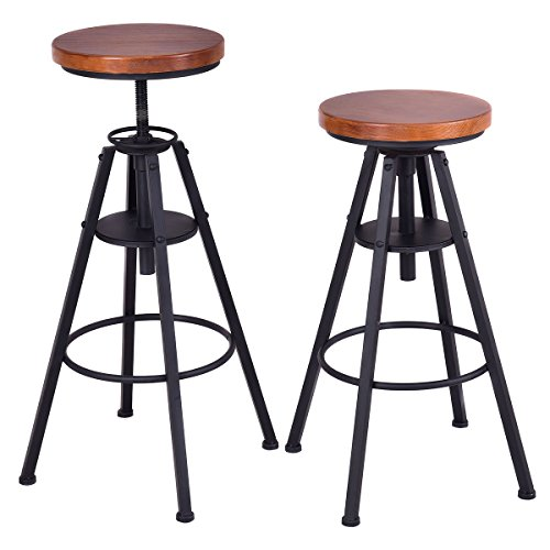Costway Bar Stools Set Of 2 Height Adjustable Metal Frame