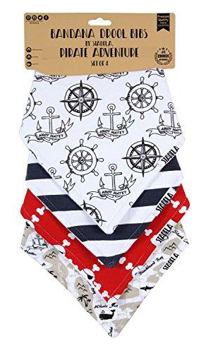 "Stadela Baby Bandana Bib Set, 4-Pack Absorbent Soft Cotton Drool and Teething Bandana Bibs, Baby Shower Gift for Boys ""Pirate Adventure"""