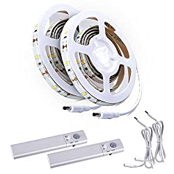 ALED LIGHT Motion Activated Bed Light IP65 Waterproof Flexible Battery powered LED Strip Sensor Night Light Illumination with Automatic Shut Off Sensor for Bed, Hallways, Stairs