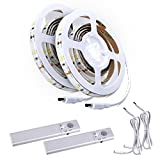 ALED LIGHT Motion Activated Bed Light IP65 Waterproof Flexible Battery powered LED Strip Sensor Night Light Illumination with Automatic Shut Off Sensor for Bed, Hallways, Stairs (2PACK)