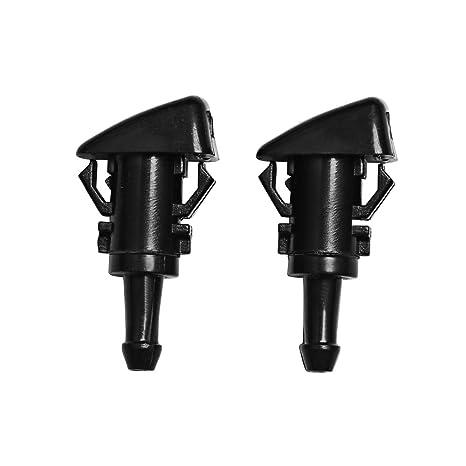 auto-parts-eushop 2pcs boquilla para limpiaparabrisas pulverizador de lavado eléctrica universal de plástico