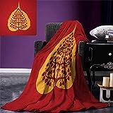 smallbeefly Leaf Digital Printing Blanket Artistic Design Bodhi Tree Nature Religion Yoga Meditation Summer Quilt Comforter 80''x60'' Vermilion Ruby Marigold