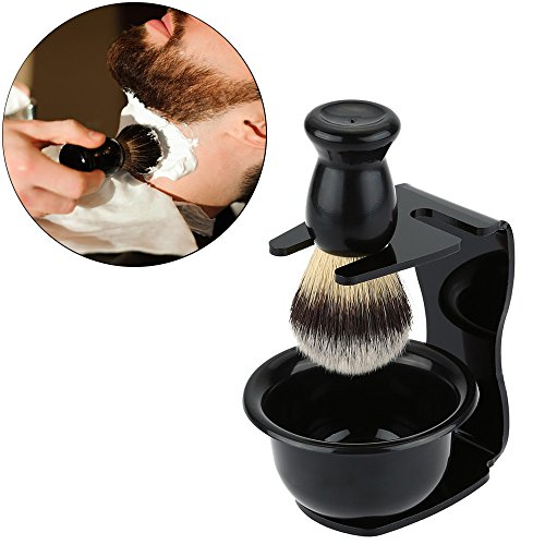 Hisight Acrylic Men's Stand Holder for Best Safety Razor Strong stability Men Shaving Set, Badger Hair Brush Soap Bowl Men Shaving Cup Set 3 In 1 Wonderful shaving experience. (Black)