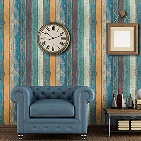 Prepasted Wallpaper 17.71 x 393 x 32.75 ft. Blue Green Yellow Strips Removable Wallpaper Wood Peel and Stick Wallpaper Rustic Plank Wood Wallpaper Contact Paper or Wall Paper GoGoDecal 1.48 ft