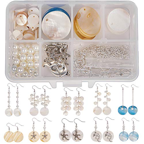 SUNNYCLUE 1 Box DIY 10 Pairs Natural White Sea Shell Drop Dangle Earrings Making Starter Kit Round Seashell Charm Pendants Earring Hook for Art Craft Projects Silver ()