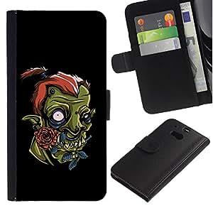 Billetera de Cuero Caso del tirón Titular de la tarjeta Carcasa Funda del zurriago para HTC One M8 / Business Style Cute Orc
