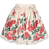 Cutecumber Girls Net Floral Printed Beige Skirt AM-2299B-BEIGE