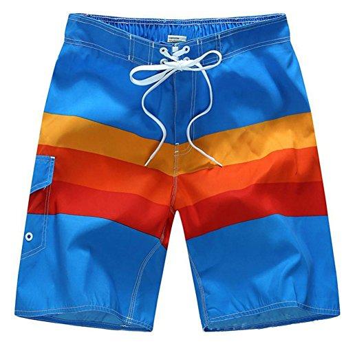 SUNVP Men Summer Casual Colorful Fast Dry Beach Board Short Swim Trunk Rainbow-Rainbow XL