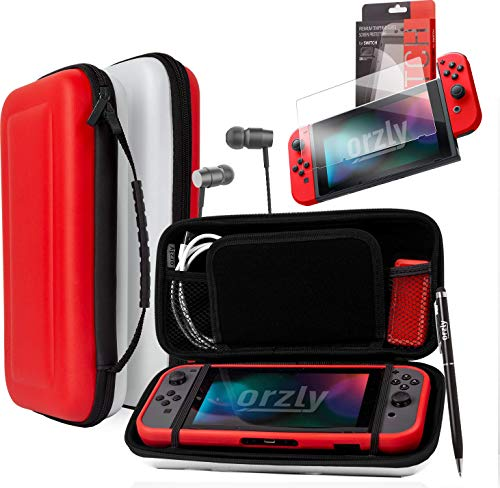Orzly Switch Bundle, Accessories for Nintendo Switch (Glass Screen Protectors, USB Charging Cable, Switch Console Pouch, Switch Games Case, Comfort Grip Case, Headphones) Poke Style (Red/Black/White) from Orzly