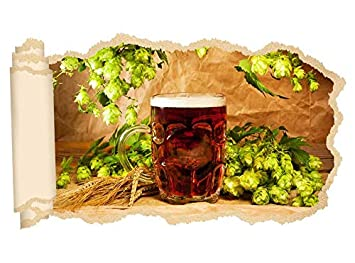 3d Wandtattoo Bier Glas Weizen Gewürze Beruf Brauerei Tapete Wand