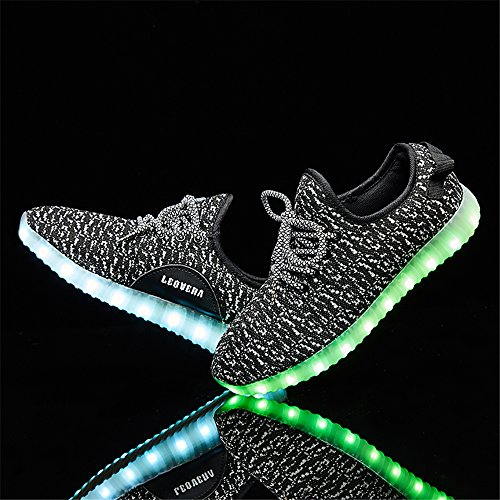 LeoVera LED Grey01 Light Men for Shoes Up Flashing Unisex Sneakers Shoes Women Charging USB rRqrOw