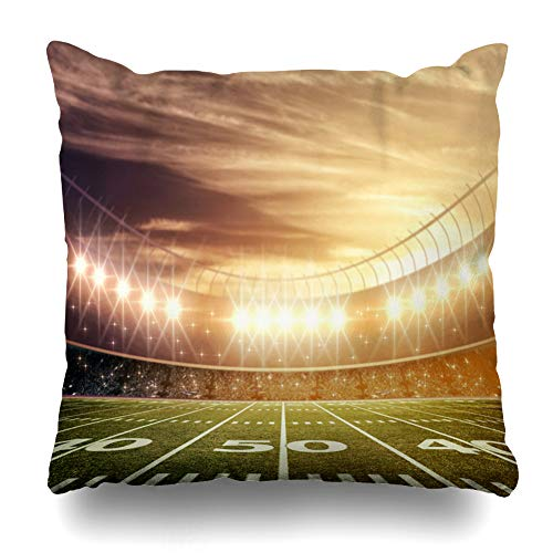 Ahawoso Throw Pillow Cover Bleachers Green American Light Stadium Field Sports Recreation Goal Post Night Baseball Hockey Design Home Decor Zippered Pillowcase Square Size 18 x 18 Inches Cushion Case