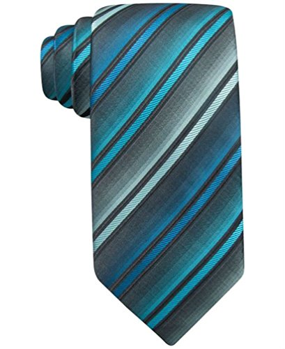 John Ashford Men's Polyester Necktie, Barrett Stripe Grey Blue - Ashford Mall