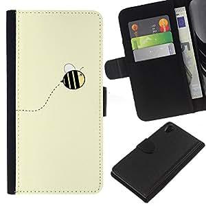 EJOY---La carpeta del tirón la caja de cuero de alta calidad de la PU Caso protector / Sony Xperia Z2 D6502 / --Amarillo lindo abejorro verano