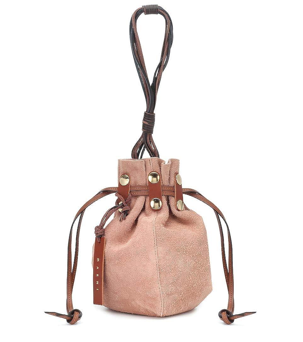 [(マルニ) MARNI] [レディース バッグ レザー ショルダーバッグ Suede bucket bag] (並行輸入品) B07Q4SXPBG ブラウン