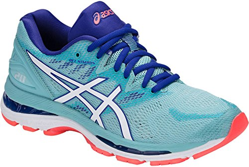 ASICS Women's Gel-Nimbus 20 Running Shoe, Porcelain Blue/White Blue, 11 Medium US