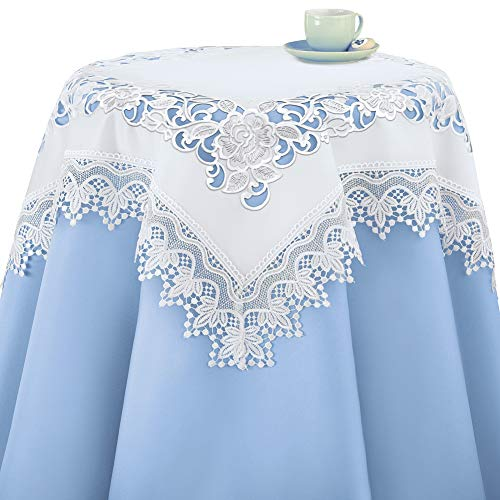 Collections Etc Elegant Floral Rose and Lace Embroidered Table Linens, White, Square (Border Table Topper)