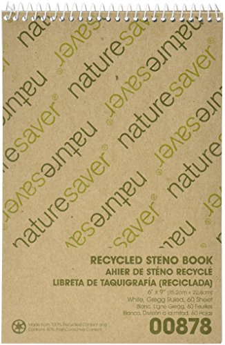 Nature Saver Recycled Notebook - Nature Saver Steno Notebook, Gregg Ruled, 60 Sheets, 6 x 9 Inches, White (NAT00878)