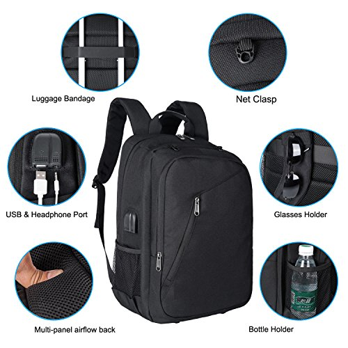 XQXA Extra Large School Backpack Mens Women USB Charging Port Headphone Port, Upgrade Slim Outdoor Sports Travel Bag Paded Laptop Compatment Fit 17 inch Laptops Notebook by XQXA (Image #3)