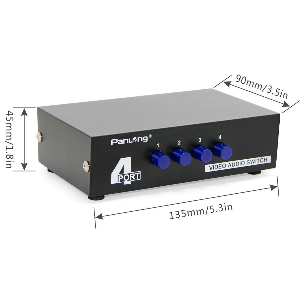 Panlong 4 Way Av Switch Rca Switcher In 1 Out Composite Video L R Selector Audio Box For Dvd Stb Game Consoles