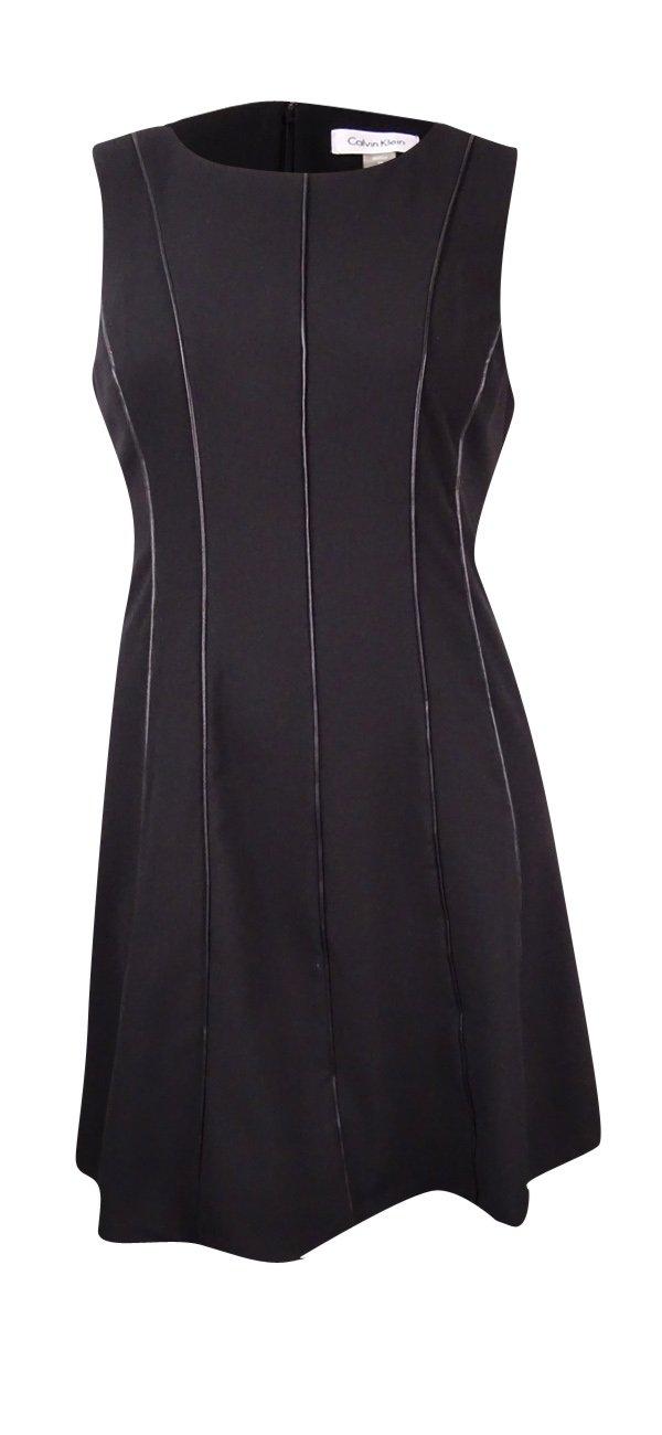 Calvin Klein Women's Petite Fit and Flare Sleeveless Dress Black, 6