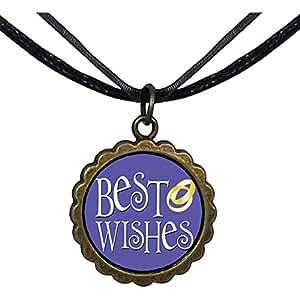 Chicforest Bronze Retro Style Best Wedding Wishes Round Flower Pendant