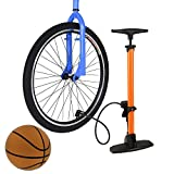 ANCHEER Bicycle Ergonomic Bike Floor Pump with Gauge/Smart Valve Head, Fits Schader and Presta Valve Types, Includes Needle to inflate Sports Balls for Football, Volleyball,Soccer, and Basketbal