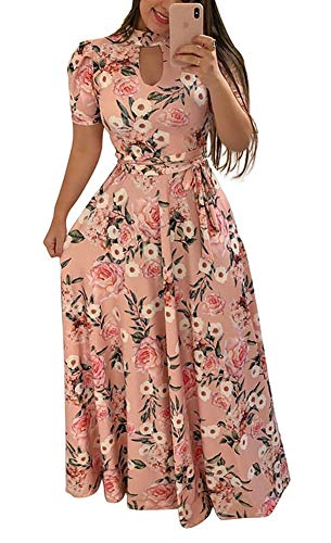 (Women's Floral Printed Long Maxi Dress Plus Size Summer Hollow Front Swing Dress with Belt Pink)