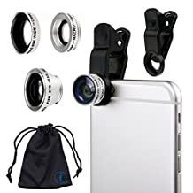 Silver Clip On 180 Degrees Portable 3 in 1 Camera Lens Kit - FishEye - Wide Angle - Macro for Samsung Galaxy S5 neo SM-G850