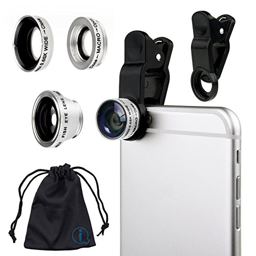 Silver Clip On 180 Degrees Portable 3 in 1 Camera Lens Kit - FishEye - Wide Angle - Macro for LG E900 Optimus 7