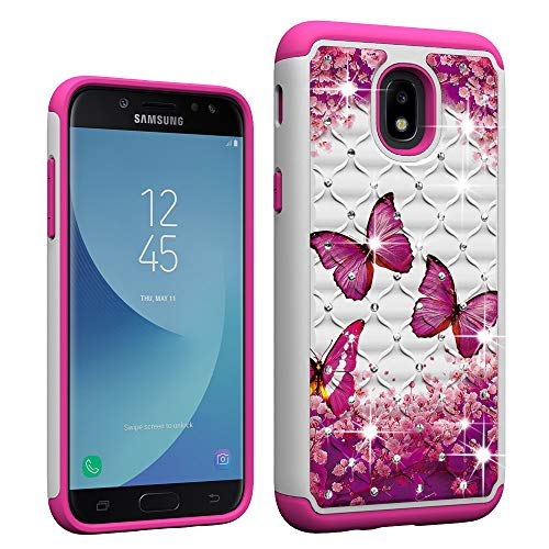 Berry Accessory Galaxy J3 2018 Case,Galaxy J3 Star/J3 Achieve/Express/Amp Prime 3 /J3 V 3rd Gen Case Glitter Sparkle Bling Studded Rhinestone Crystal Hybrid Dual Layer Armor Case Pink Butterly
