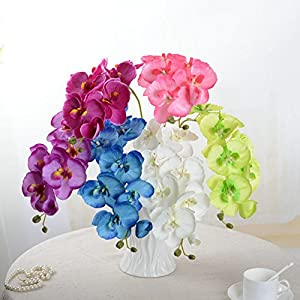 UHBGT 1pcs Artificial Butterfly Orchid Fake Flower Home Wedding Party Phalaenopsis Decor Blue 2