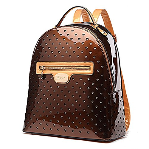 (VERONA H & L New Women's Shiny Twinkle Star Vegan Leather Backpack Bronze)