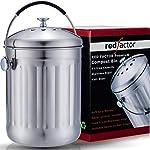 RED FACTOR Premium Compostiera da Cucina Inodore in Acciaio Inox - 6 Filtri di Ricambio in Carbone Attivo Inclusi (5… 51tAFpLQwnL. SS150