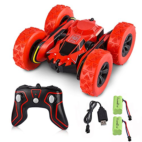 Remote Control Car Stunt Cars Toys  Electric Rc Cars Gift For Kids Adults  1 28 2 4Ghz Remote Control Off Road Electric Race Vehicles Double Sided 360 Degree Spins  Red   With 2 Batteries