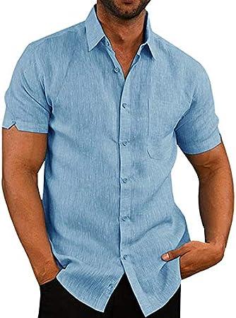 Alexsix Men Shirt Slim Fit Short Sleeves Plain Casual Work Button Down Shirt Top