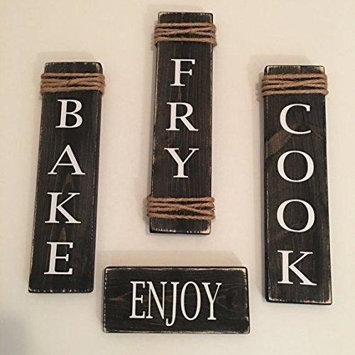 Rustic Set Of 4 Black Wooden Kitchen Signs Cook / Fry / Bake / Enjoy