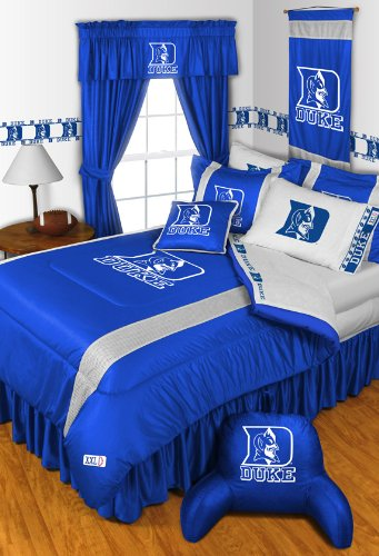 Duke Blue Devils KING Size 14 Pc Bedding Set (Comforter, Sheet Set, 2 Pillow Cases, 2 Shams, Bedskirt, Valance/Drape Set (84-inch drape length) & Matching Wall Hanging) - SAVE BIG ON BUNDLING! by Sports Coverage