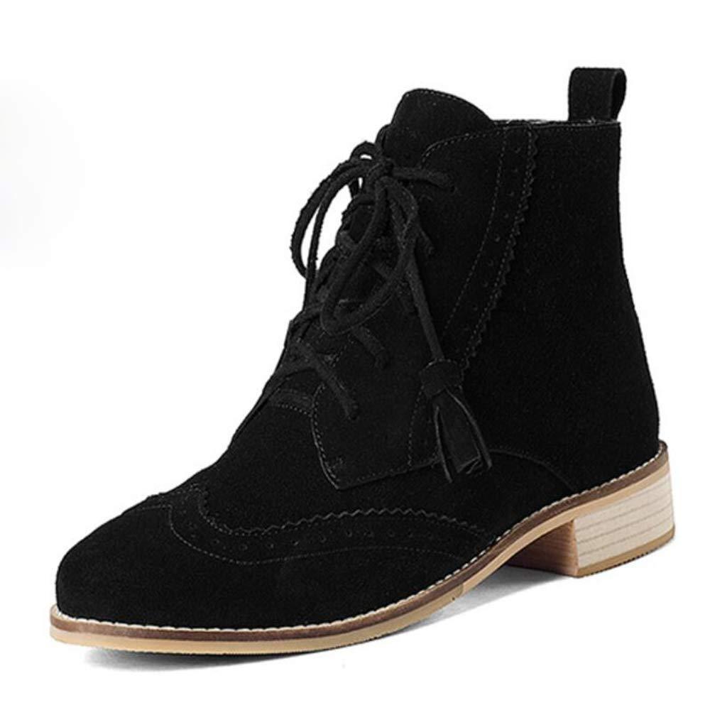 CITW Damenstiefel Herbst-Und Winter Spitzenstiefel Großformat Lederstiefel Martin Stiefel Lässig Low Stiefelmode Stiefel,schwarz,UK1 EUR35