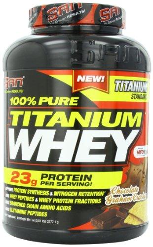SAN Nutrition 100% Pure Titanium Whey Protein Powder, Chocolate Graham Cracker, 5 Pounds by SAN