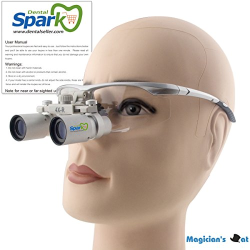 Spark 4.0x Magnification Professional Loupes with Silver BP Sports Frame for Dental, Surgical, Jeweler, or Hobby | Adjustable Pupil Distance Model #CH400