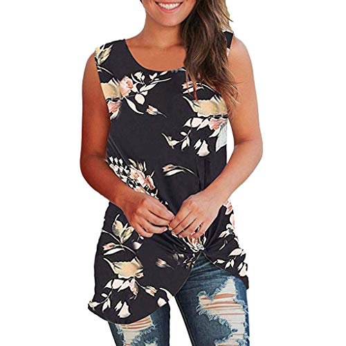 QueenMM Womens Casual Tops Sleeveless Cute Twist Knot Shirts Tank Tops Sleeveless Floral T Shirt Tunic Tops Black
