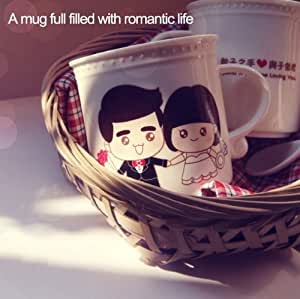 Zicome 320ml Heat Sensitive Color Changing Coffee Cup Morning Mug + One Ceramic Coffee Tea Milk Spoon - Growing Old with Your Lover - Spending a Lifetime Loving You - Hand Wash Recommended