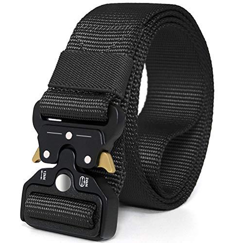 WONDAY Tactical Belt,Military Style Durable Nylon Belt,2019 New Quick-Release Buckle Mens Belt for Cargo Pants Jeans (Black-07, M(waist36-42)