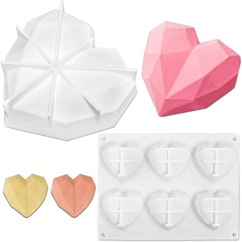FineGood 2 PCS del diamante 3D del coraz/ón del molde del silic/ón amor en forma de molde de pastel Bandeja de horno magdalena del mollete