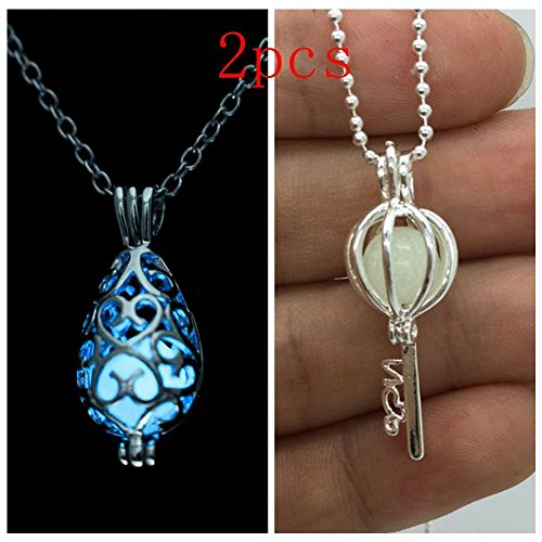 Teardrop Shape Key (Teardrop Key Shape Blue Glow in the Dark Necklace Jewelry Pendant Steampunk Fairy Magical)