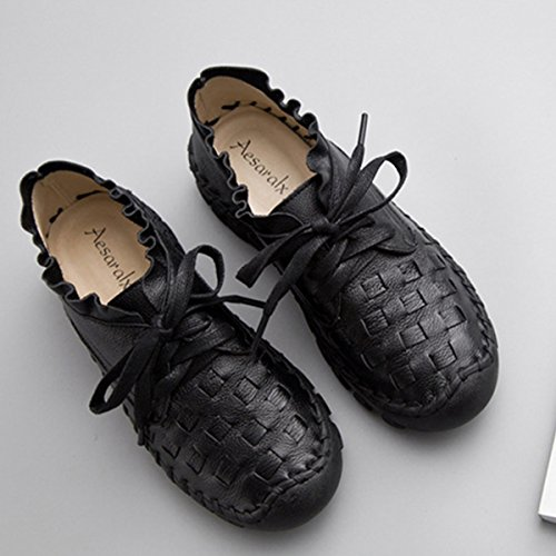 Socofy Kvinna Dagdrivare För Läder Skor, Casual Handgjorda Sömmar Spets Upp Platt Inomhus Och Utomhus Enstaka Skor Svarta