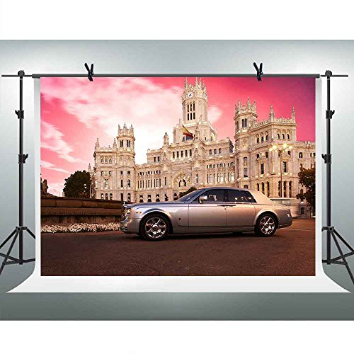 (FH 10x7ft Rolls-Royce Phantom Photography Backdrop Nice European Architecture Red Sky Background Themed Party YouTube Backdrops Photo Booth Studio Props PFH141 )
